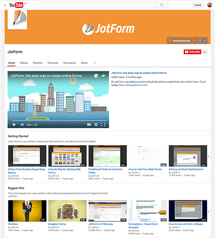 JotForm Youtube Channel