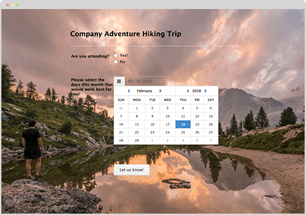 Theme of the Month: Hiking Trip RSVP Form