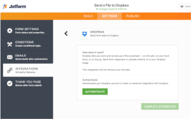 3. Authenticate your Dropbox Account