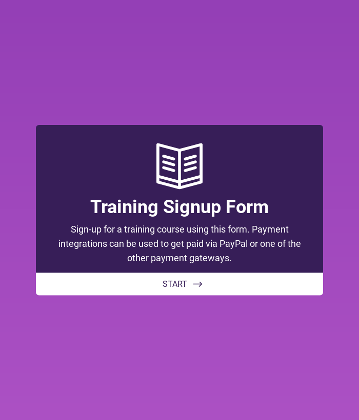 Training Application Form