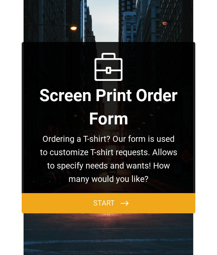 Screen Printing Order Form