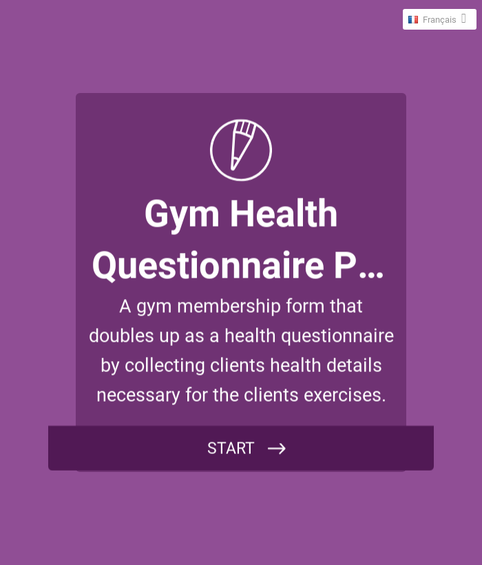 Gym health questionnaire Form