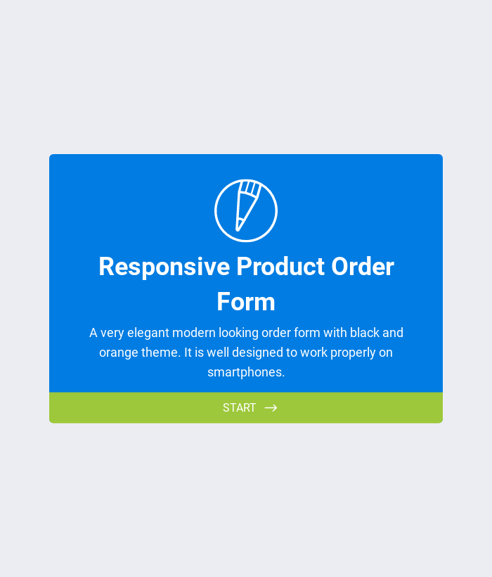 Responsive Product Order Form