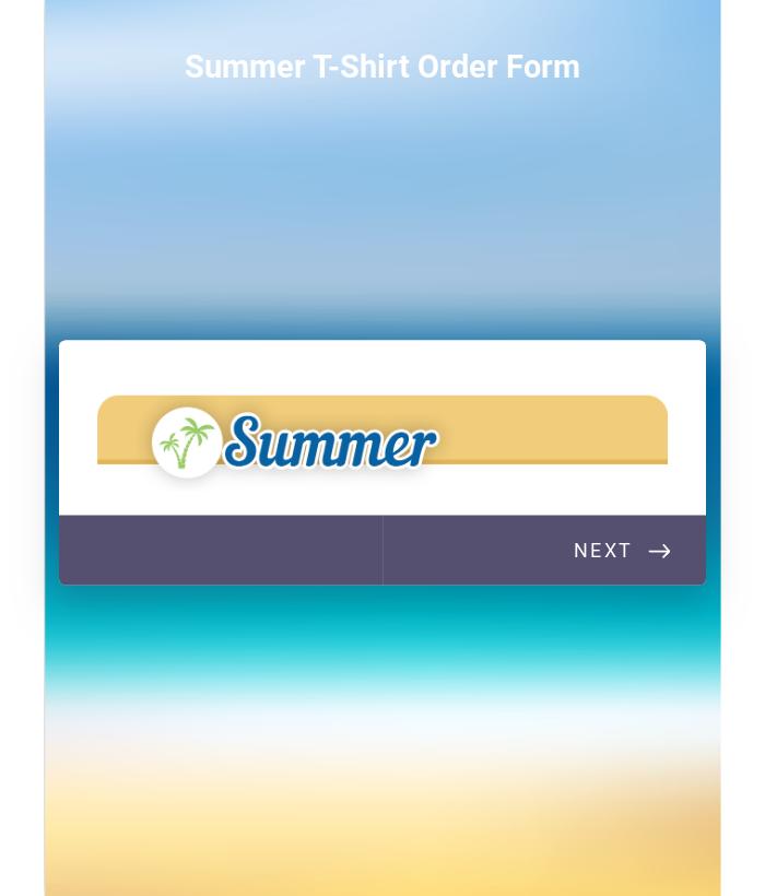 Summer T Shirt Order Form