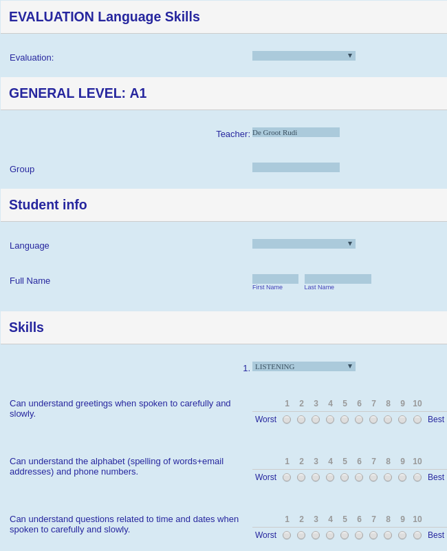 Language Courses Evaluation Form