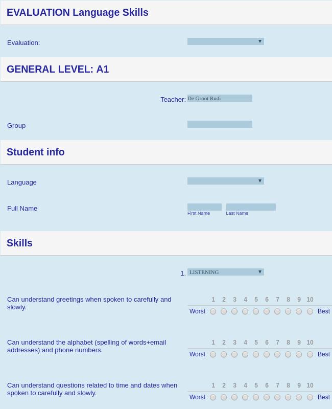 Language Courses Evaluation Form