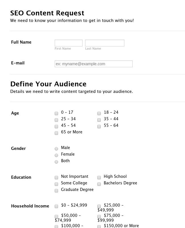 SEO Content Request Form