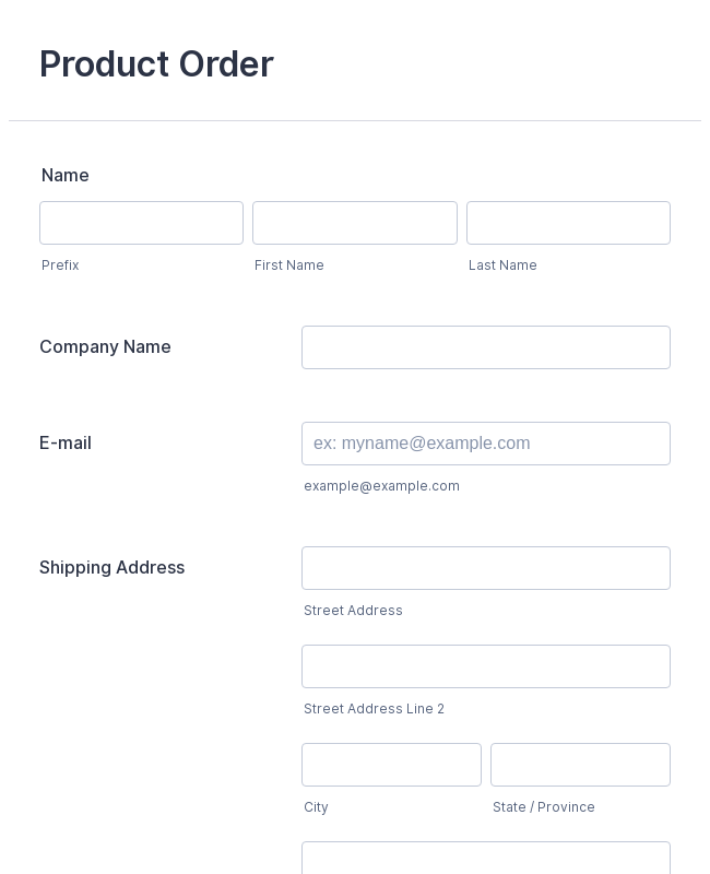 Product Order Form Template Jotform