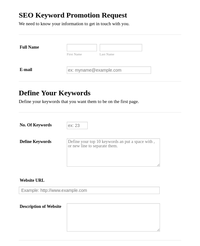SEO Keyword Promotion Request Form
