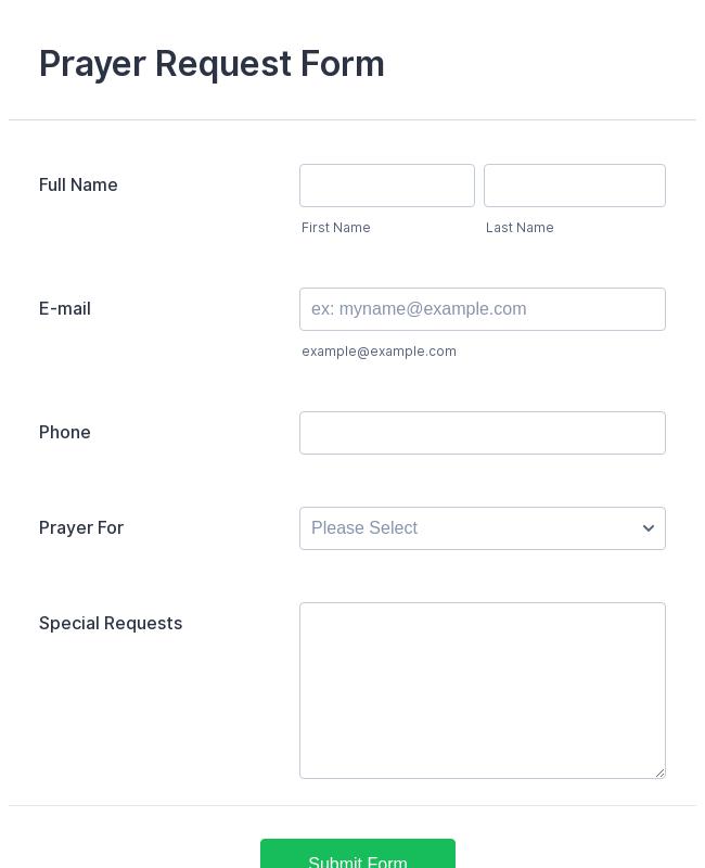 prayer request form template jotform. Black Bedroom Furniture Sets. Home Design Ideas