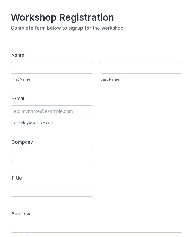 workshop registration form template jotform. Black Bedroom Furniture Sets. Home Design Ideas