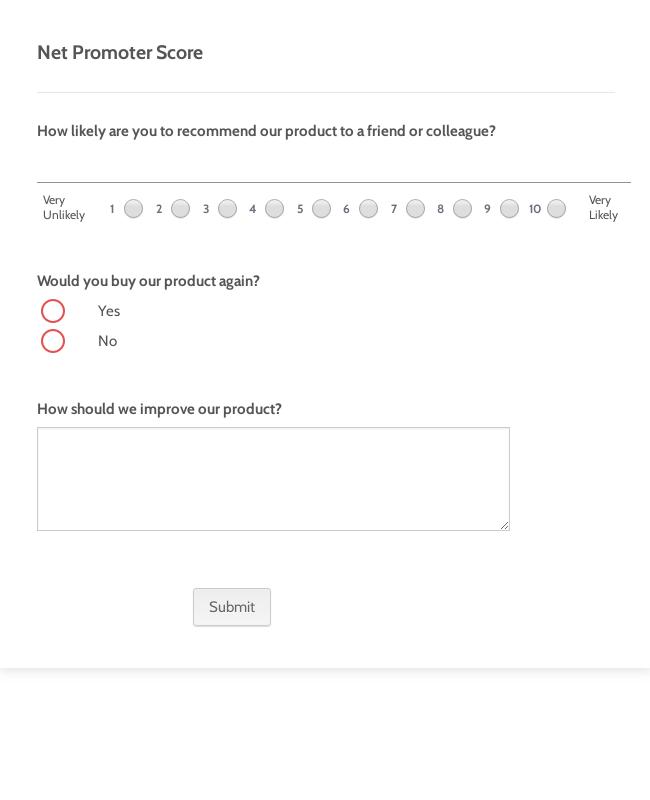 Net Promoter Score Form