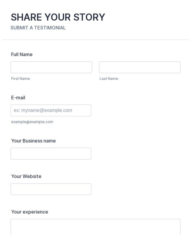 Share a Testimonial Form