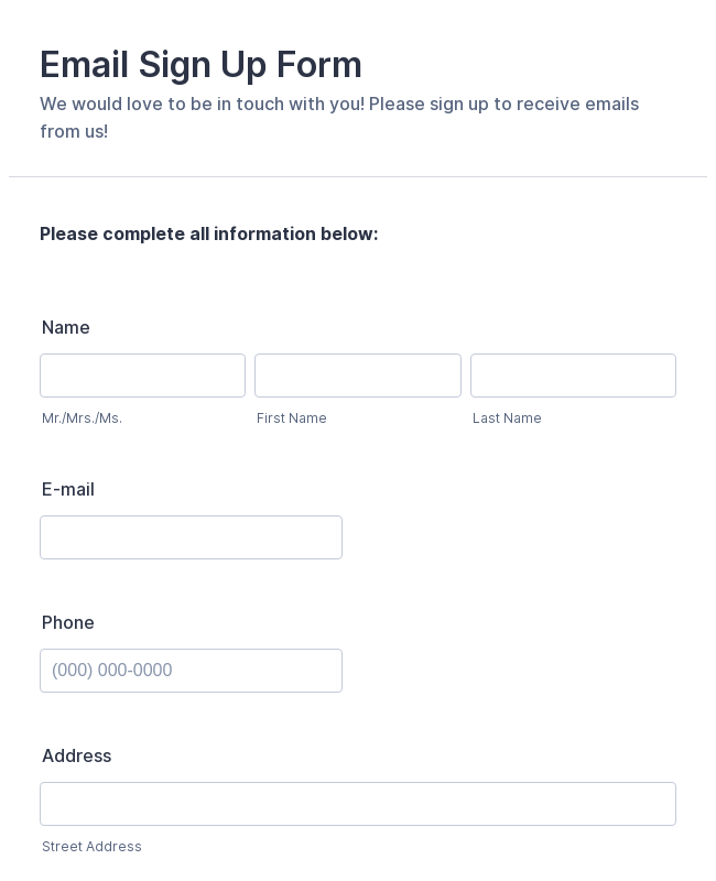 Email Sign Up Form Template Jotform
