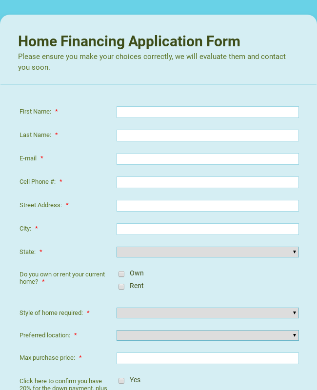 Home Financing Application Form