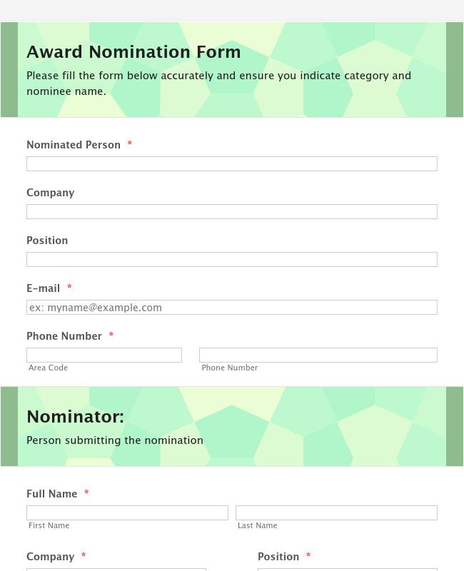 Organization Awards Nomination Form