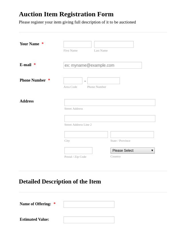 Auction Item Registration Form