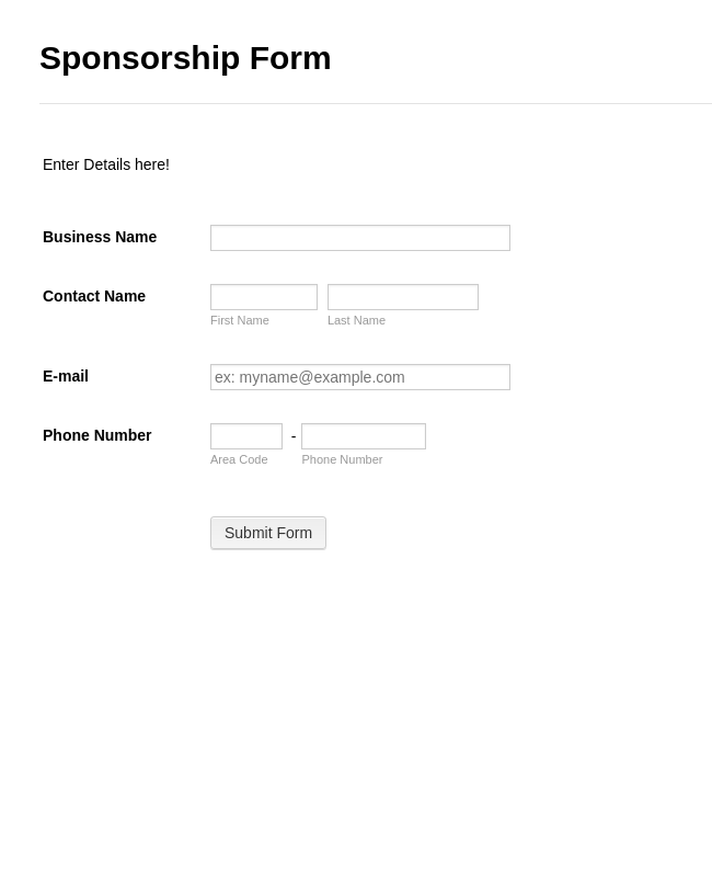 Sponsorship Collection Form