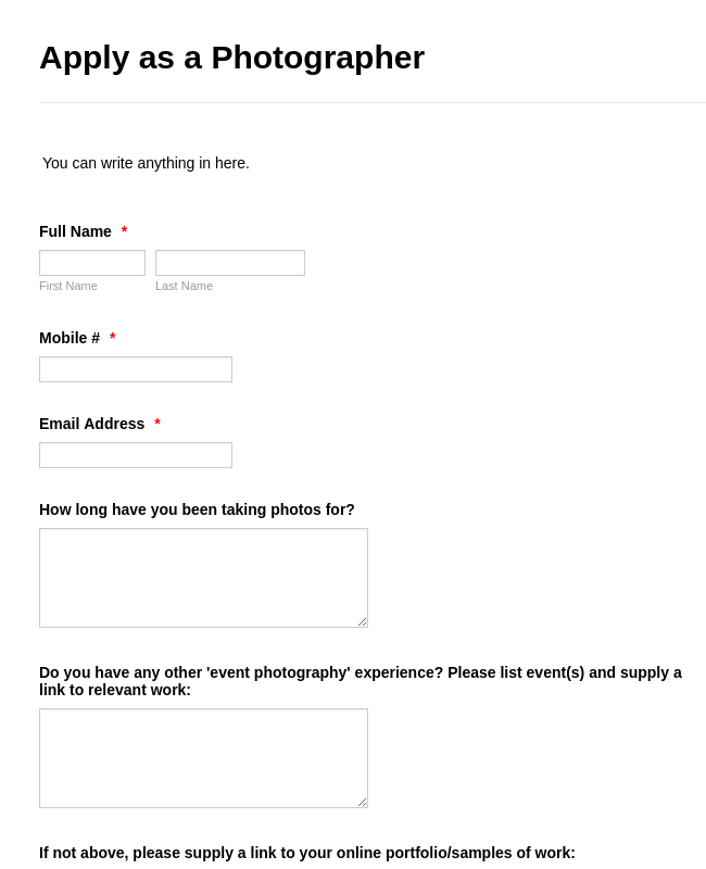 Photographer Application Form