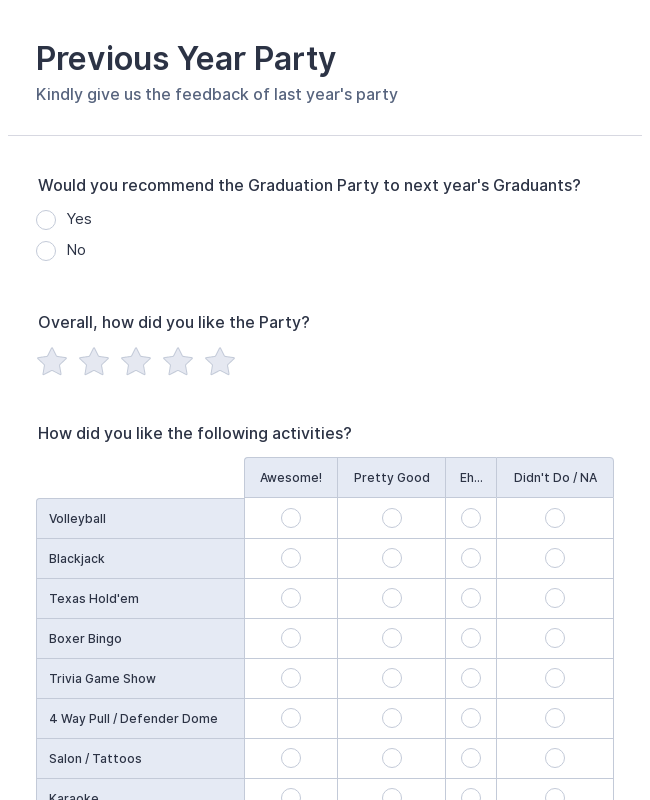 Previous Year Party Survey Form