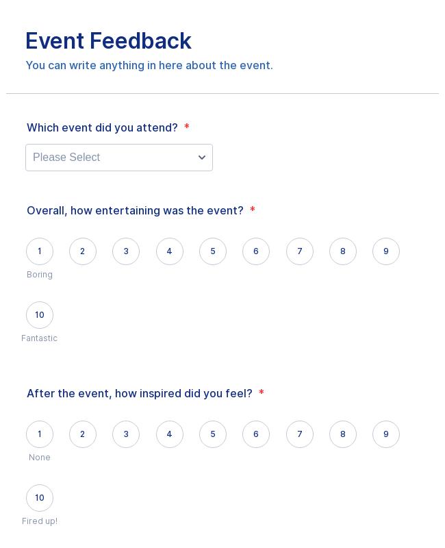event feedback form template jotform. Black Bedroom Furniture Sets. Home Design Ideas