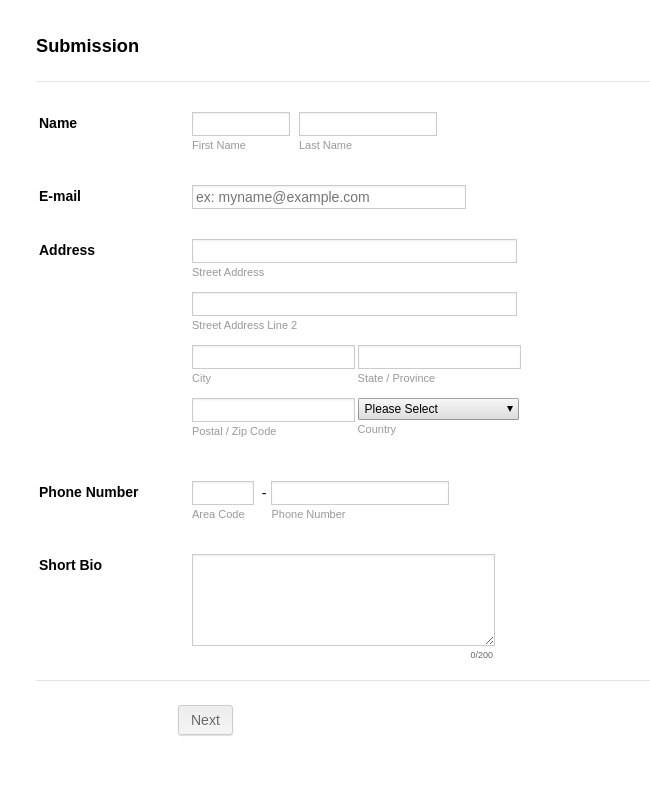 Submission Form