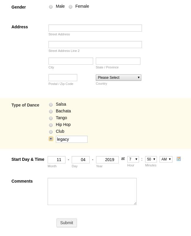 Dance Registration Form