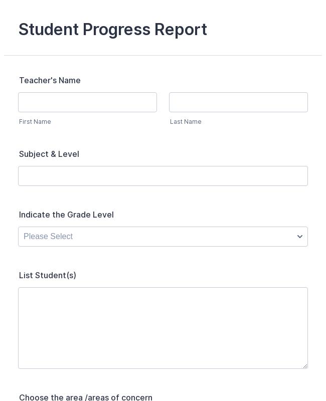 Student Progress Report Form