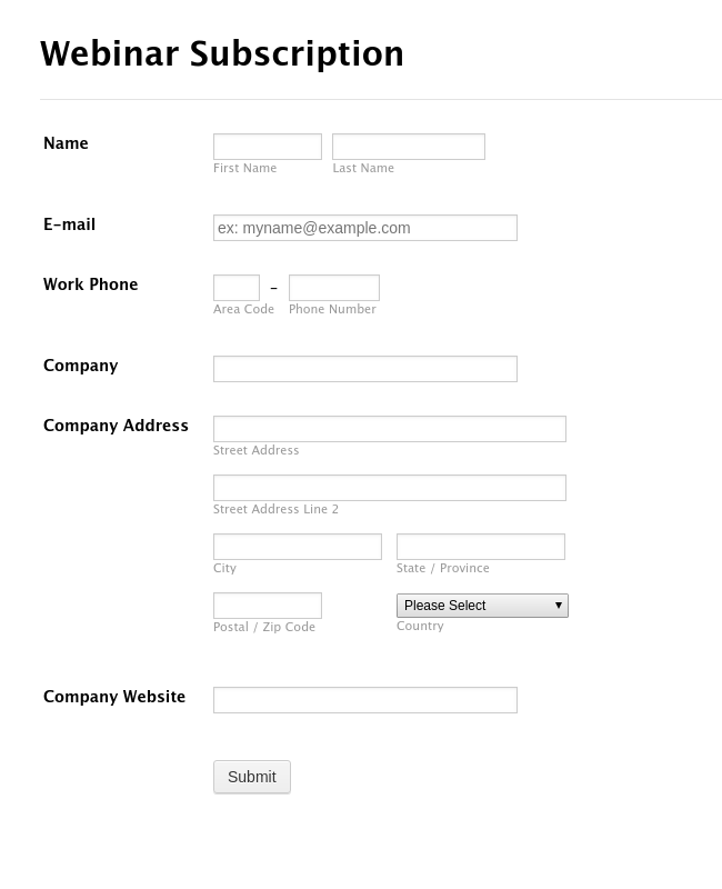 Webinar Sign-up Form