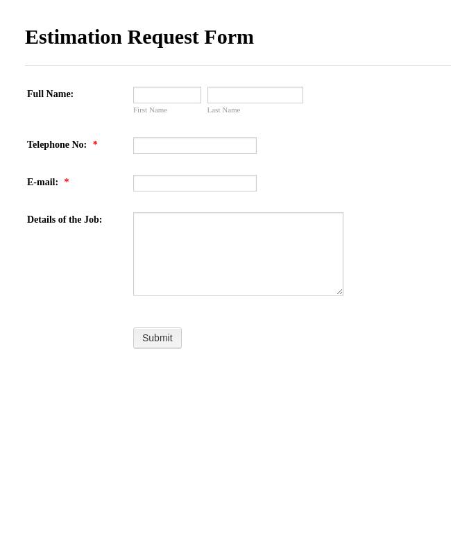 Book Estimate Request Form