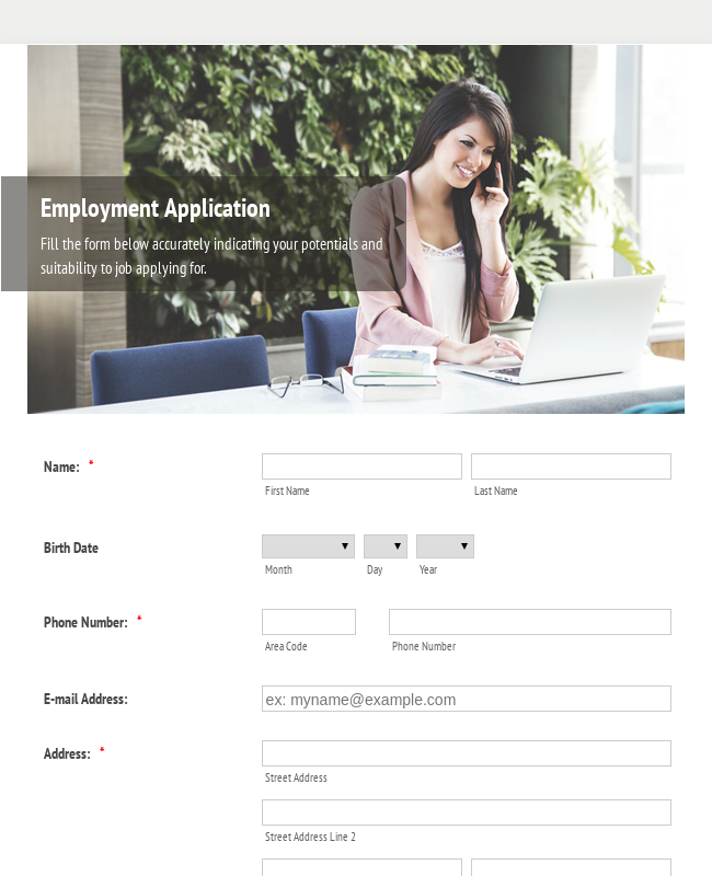 Employment Application Form