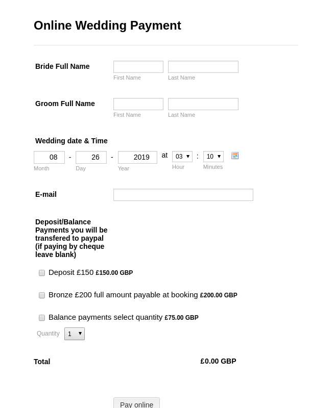 Online Wedding Payment Form