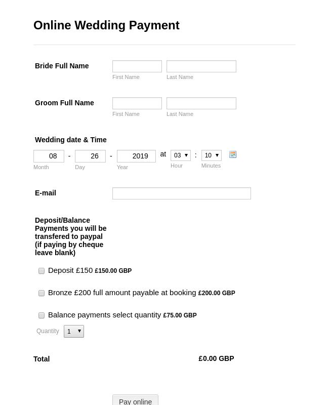 Online Wedding Payment Form