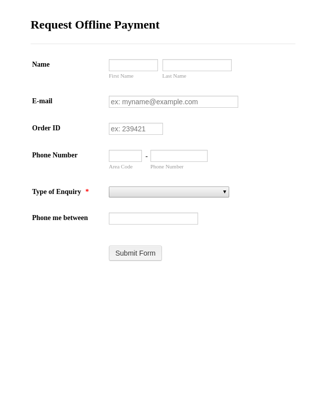 Offline Payment Request Form