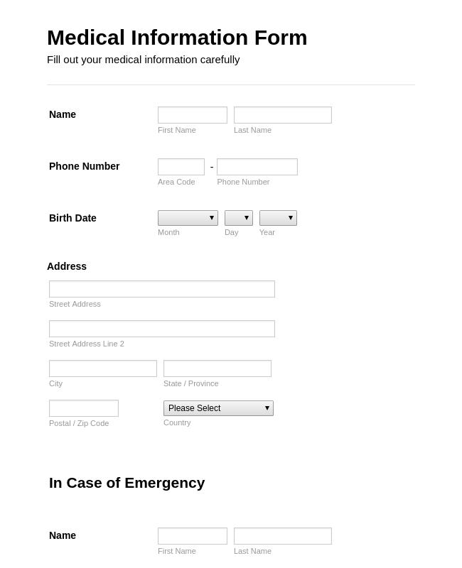 Medical Employment Information Form