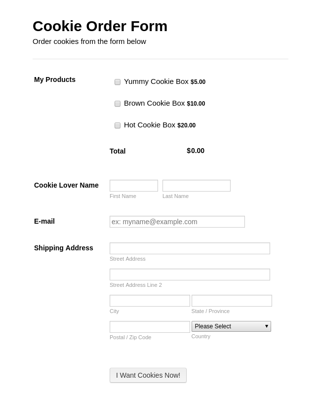 Cookie Order Form