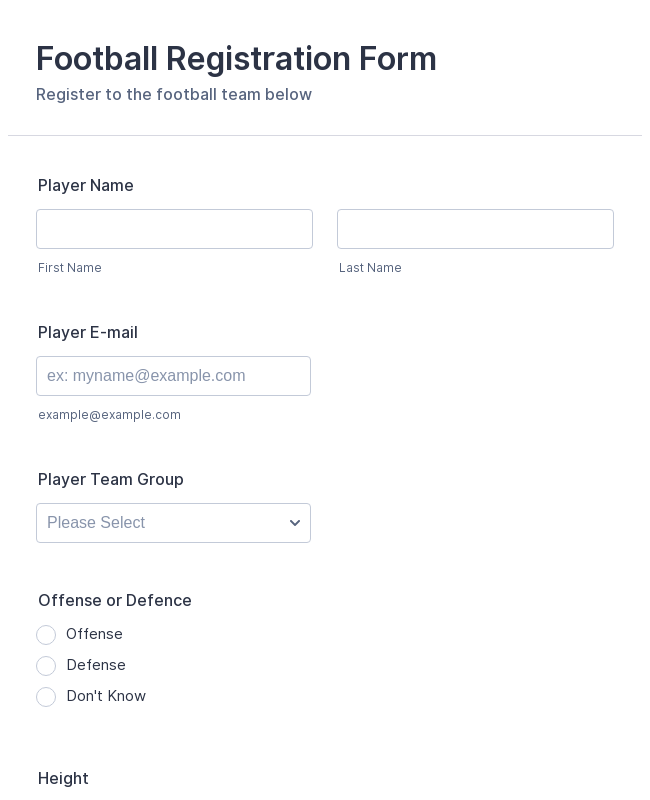 Football Registration Form