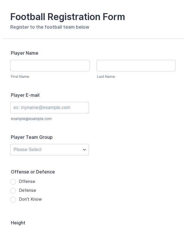Football Registration Form