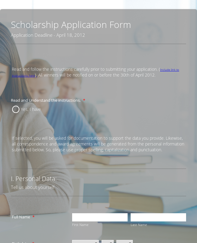 Sample Scholarship Application Form