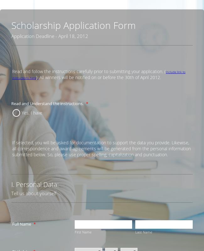 Sample Scholarship Application Form