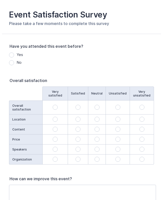 Event Satisfaction Survey Form
