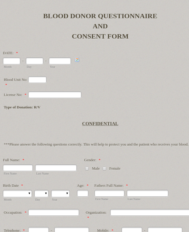 Blood Donation - Consent Form