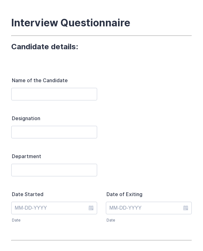 Exit Interview Questionnaire Form