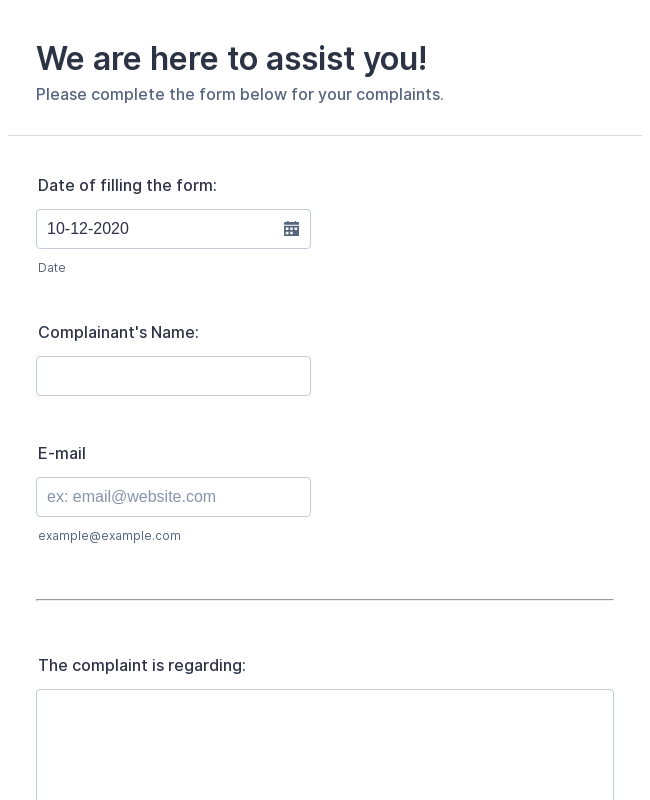 Free employee complaint form pdf | word | eforms – free fillable.