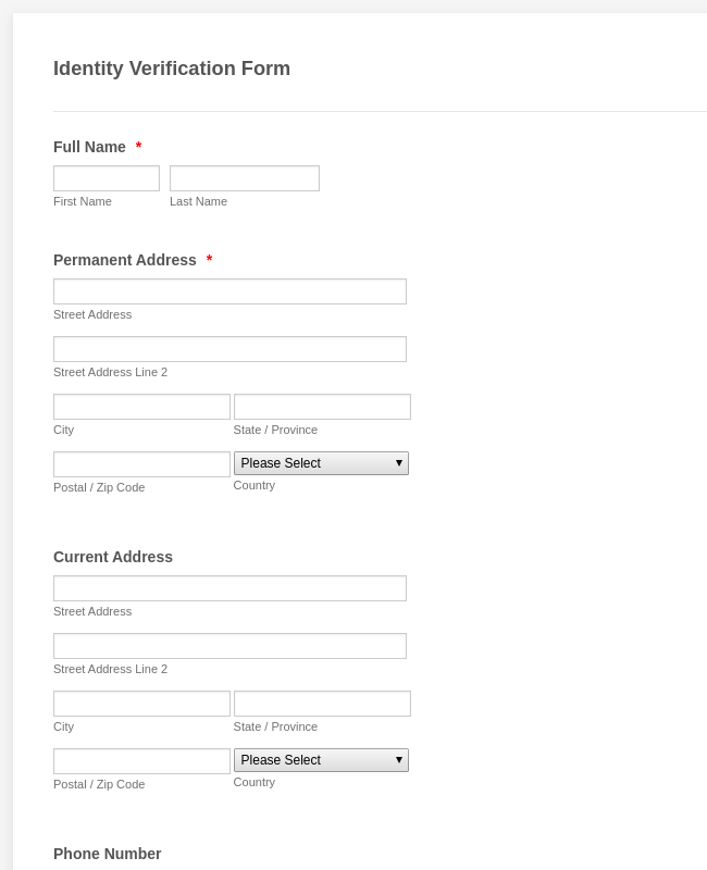Identity Verification Form