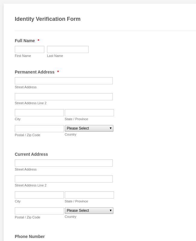 Identity Verification Form