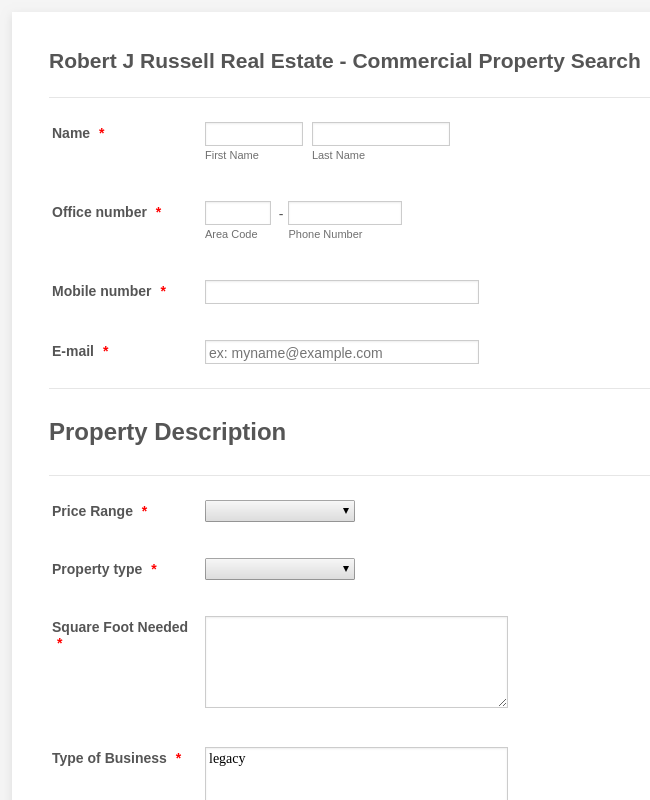 Property Valuation Request Form 2