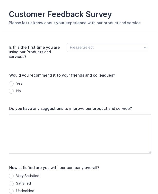 Customer Satisfaction Survey