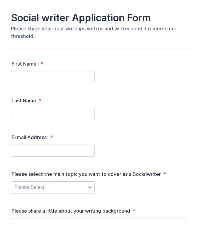 Social writer Application Form