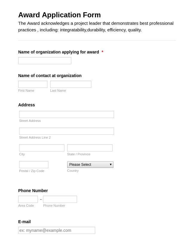 Award Application Form